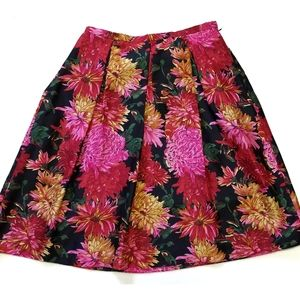 Talbots Pure Silk Floral Pleated Circle Skirt